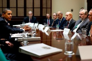 U.S. President Obama meets with health care executives at the White House on May 11 (Pete Souza)