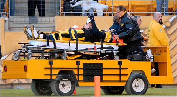 Tom E. Puskar/Associated Press Steelers quarterback Ben Roethlisberger, with Dr. Joseph Maroon, being taken away after sustaining a concussion.