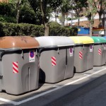 Barcelona: color-coded recyclying bins